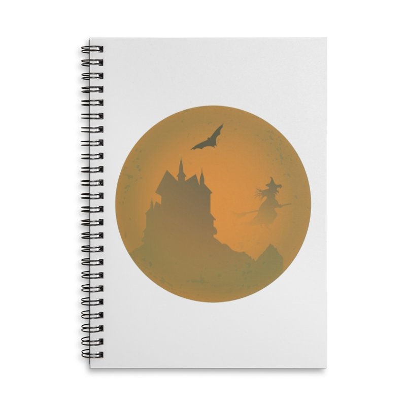 Dark Castle with flying witch, bat, in front of orange moon. Accessories Lined Spiral Notebook by Make a statement, laugh, enjoy.