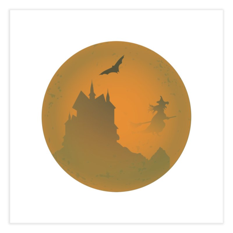Dark Castle with flying witch, bat, in front of orange moon. Home Fine Art Print by Make a statement, laugh, enjoy.