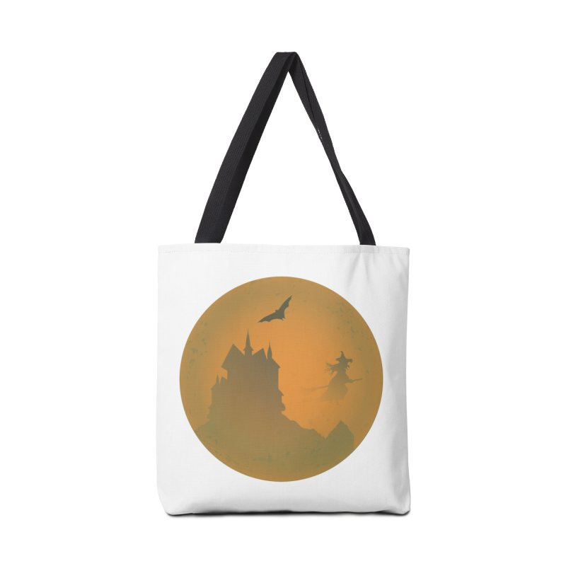 Dark Castle with flying witch, bat, in front of orange moon. Accessories Tote Bag Bag by Make a statement, laugh, enjoy.