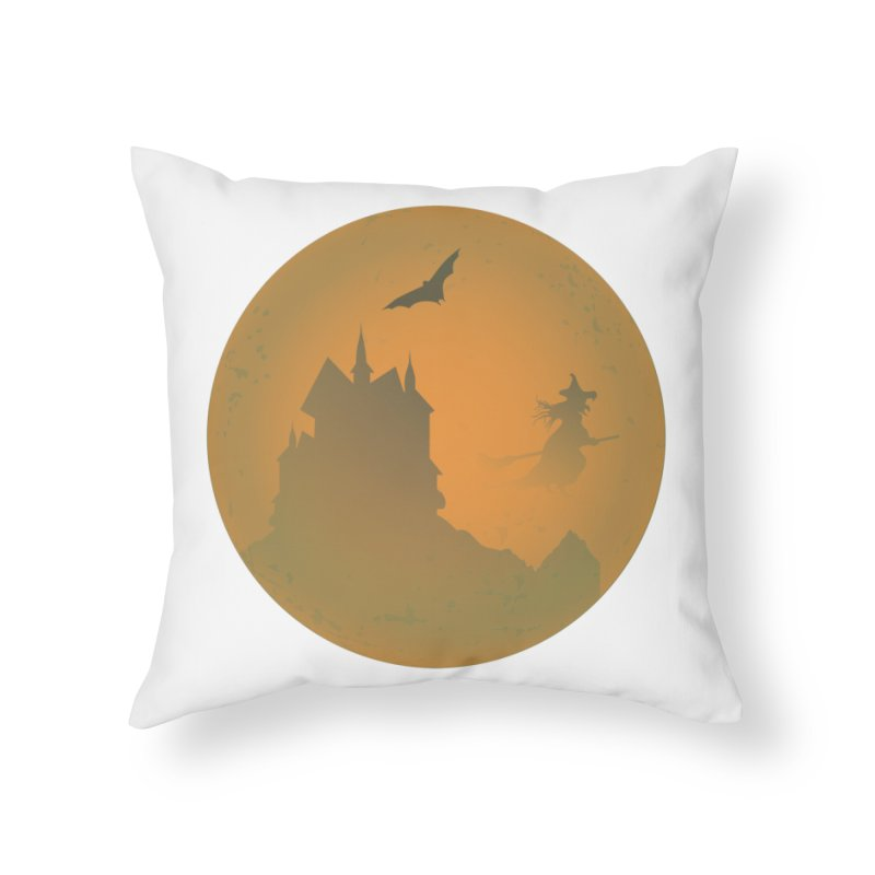 Dark Castle with flying witch, bat, in front of orange moon. Home Throw Pillow by Sporkshirts's tshirt gamer movie and design shop.