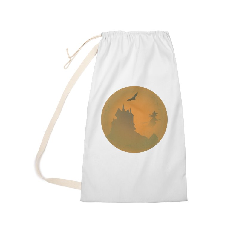 Dark Castle with flying witch, bat, in front of orange moon. Accessories Laundry Bag Bag by Make a statement, laugh, enjoy.