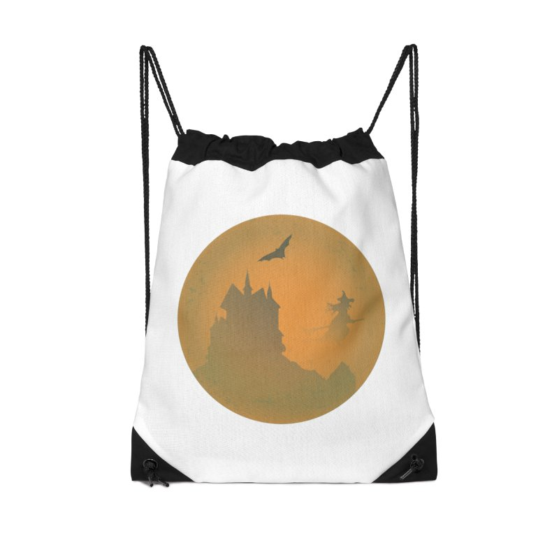 Dark Castle with flying witch, bat, in front of orange moon. Accessories Drawstring Bag Bag by Make a statement, laugh, enjoy.