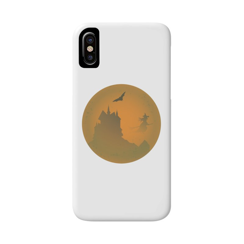 Dark Castle with flying witch, bat, in front of orange moon. Accessories Phone Case by Sporkshirts's tshirt gamer movie and design shop.