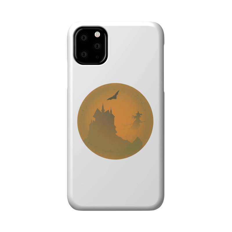 Dark Castle with flying witch, bat, in front of orange moon. Accessories Phone Case by Make a statement, laugh, enjoy.