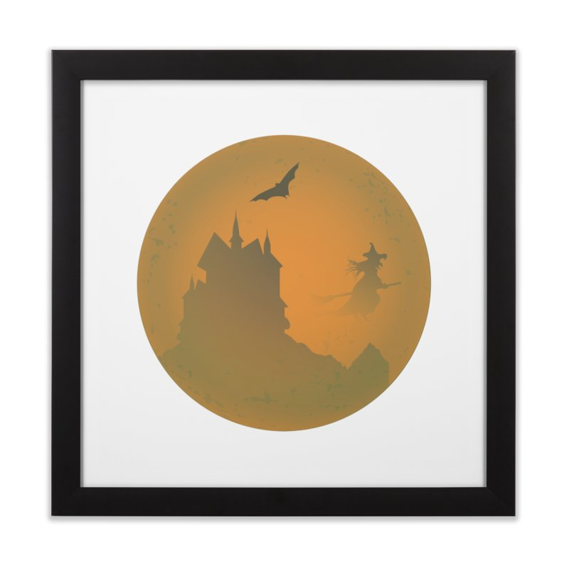 Dark Castle with flying witch, bat, in front of orange moon. Home Framed Fine Art Print by Make a statement, laugh, enjoy.