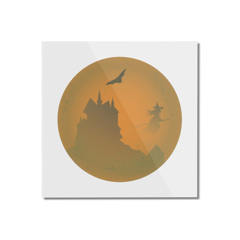 Dark Castle with flying witch, bat, in front of orange moon. Home Mounted Acrylic Print by Make a statement, laugh, enjoy.