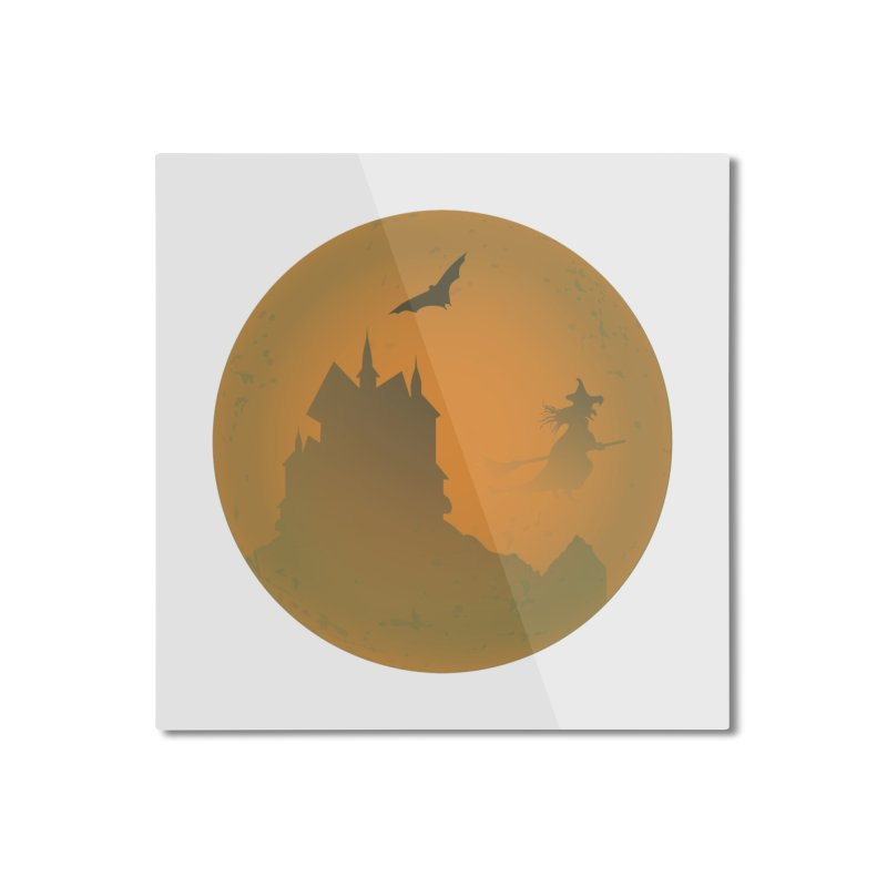 Dark Castle with flying witch, bat, in front of orange moon. Home Mounted Aluminum Print by Sporkshirts's tshirt gamer movie and design shop.