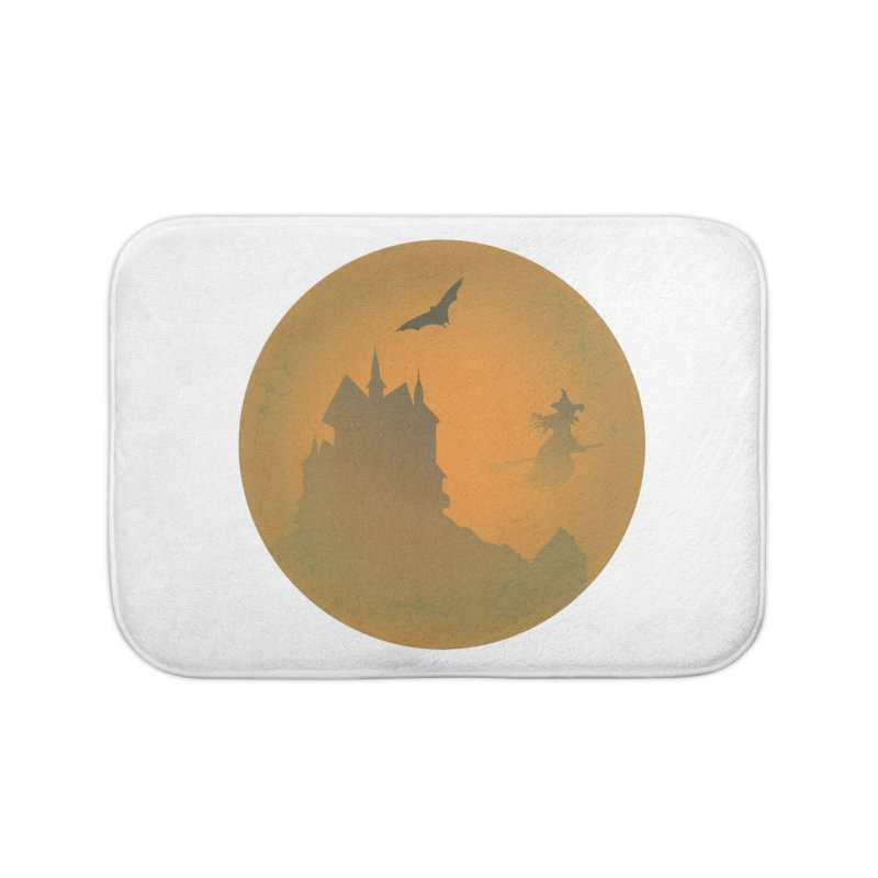 Dark Castle with flying witch, bat, in front of orange moon. Home Bath Mat by Sporkshirts's tshirt gamer movie and design shop.