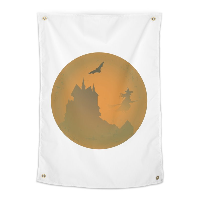 Dark Castle with flying witch, bat, in front of orange moon. Home Tapestry by Make a statement, laugh, enjoy.