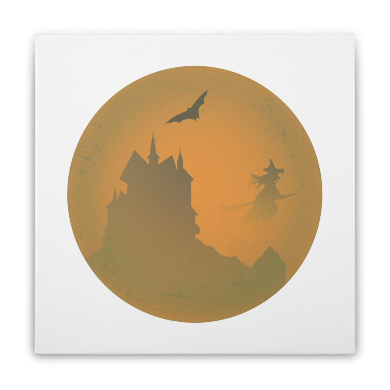 Dark Castle with flying witch, bat, in front of orange moon. Home Stretched Canvas by Make a statement, laugh, enjoy.