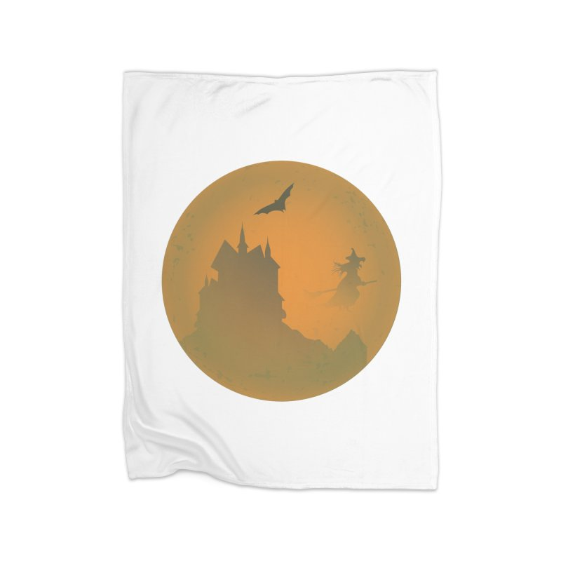 Dark Castle with flying witch, bat, in front of orange moon. Home Fleece Blanket Blanket by Sporkshirts's tshirt gamer movie and design shop.