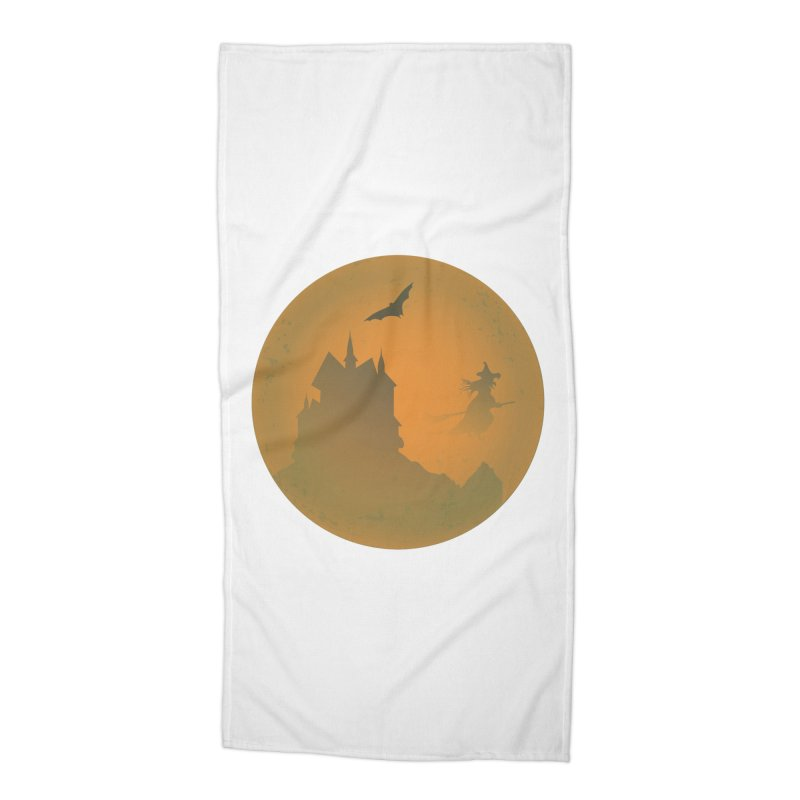 Dark Castle with flying witch, bat, in front of orange moon. Accessories Beach Towel by Sporkshirts's tshirt gamer movie and design shop.