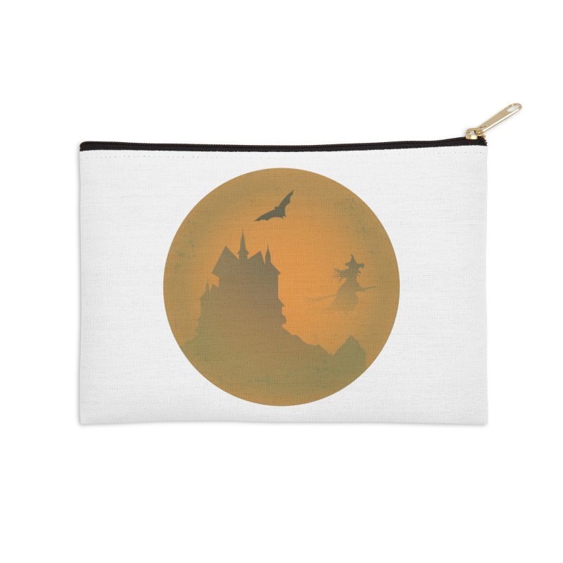 Dark Castle with flying witch, bat, in front of orange moon. Accessories Zip Pouch by Sporkshirts's tshirt gamer movie and design shop.