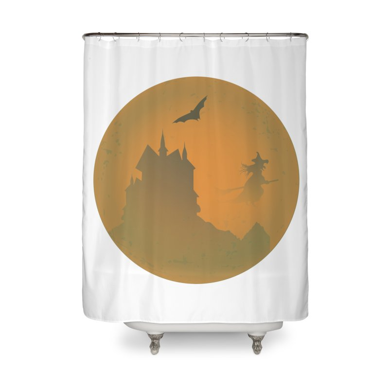 Dark Castle with flying witch, bat, in front of orange moon. Home Shower Curtain by Sporkshirts's tshirt gamer movie and design shop.