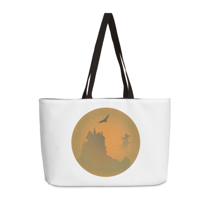 Dark Castle with flying witch, bat, in front of orange moon. Accessories Weekender Bag Bag by Make a statement, laugh, enjoy.