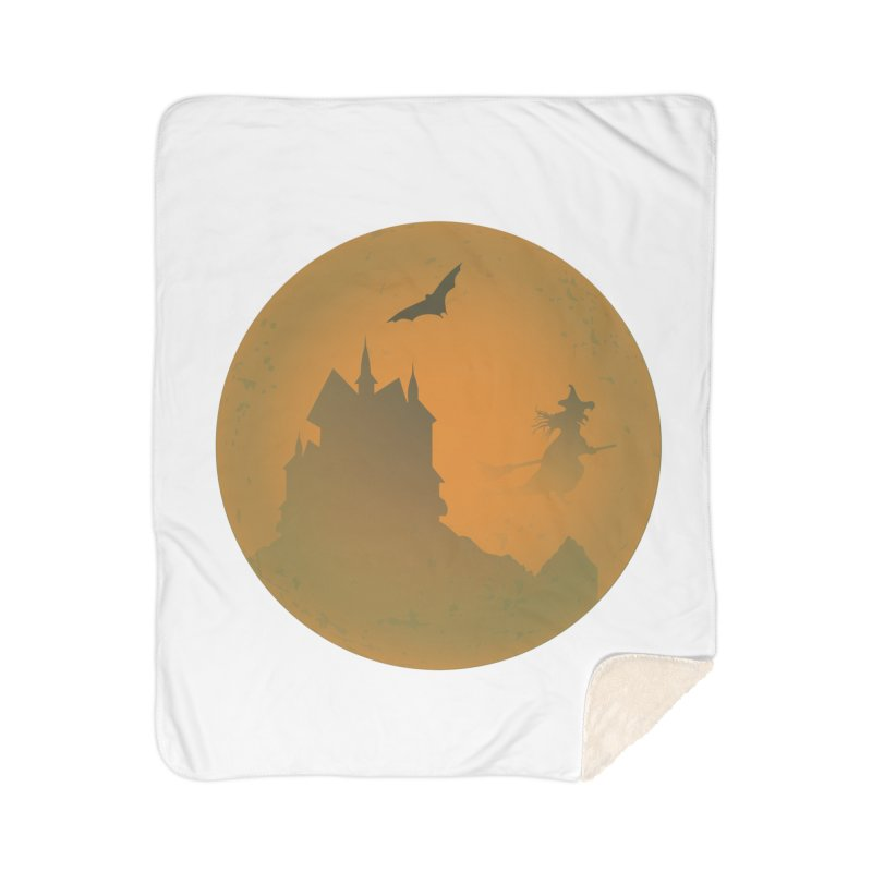 Dark Castle with flying witch, bat, in front of orange moon. Home Sherpa Blanket Blanket by Sporkshirts's tshirt gamer movie and design shop.
