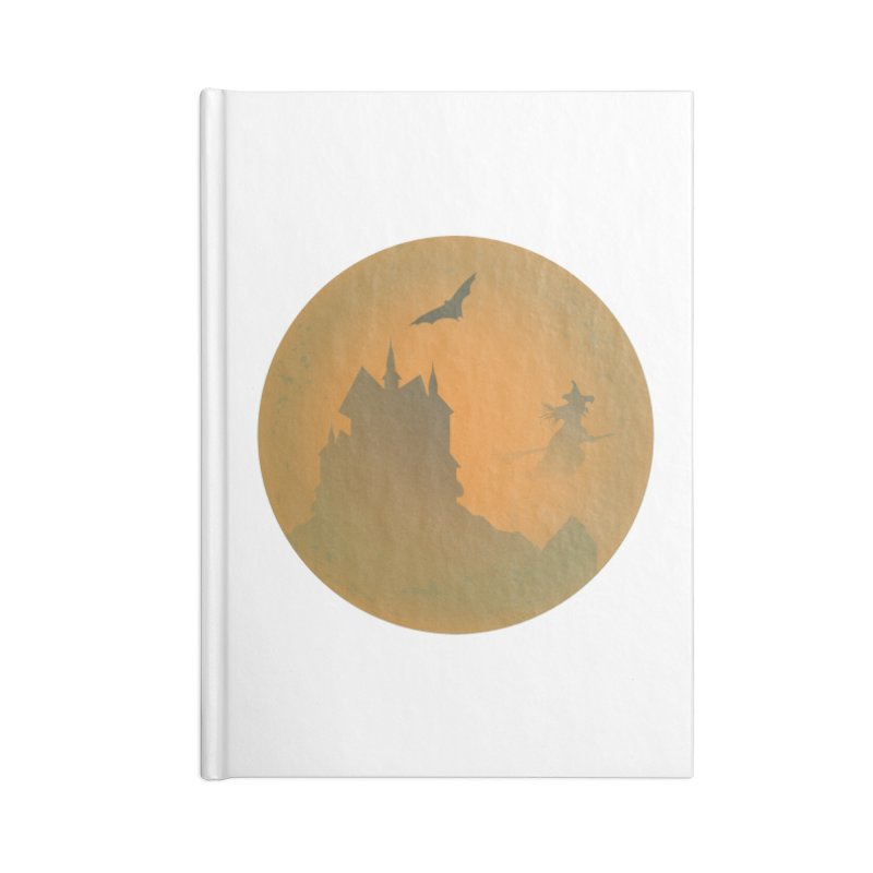 Dark Castle with flying witch, bat, in front of orange moon. Accessories Blank Journal Notebook by Make a statement, laugh, enjoy.