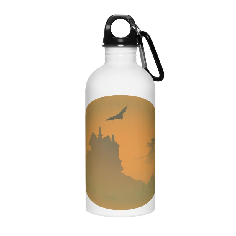 Dark Castle with flying witch, bat, in front of orange moon. Accessories Water Bottle by Make a statement, laugh, enjoy.