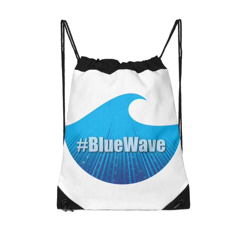 The Blue Wave Accessories Drawstring Bag Bag by Make a statement, laugh, enjoy.