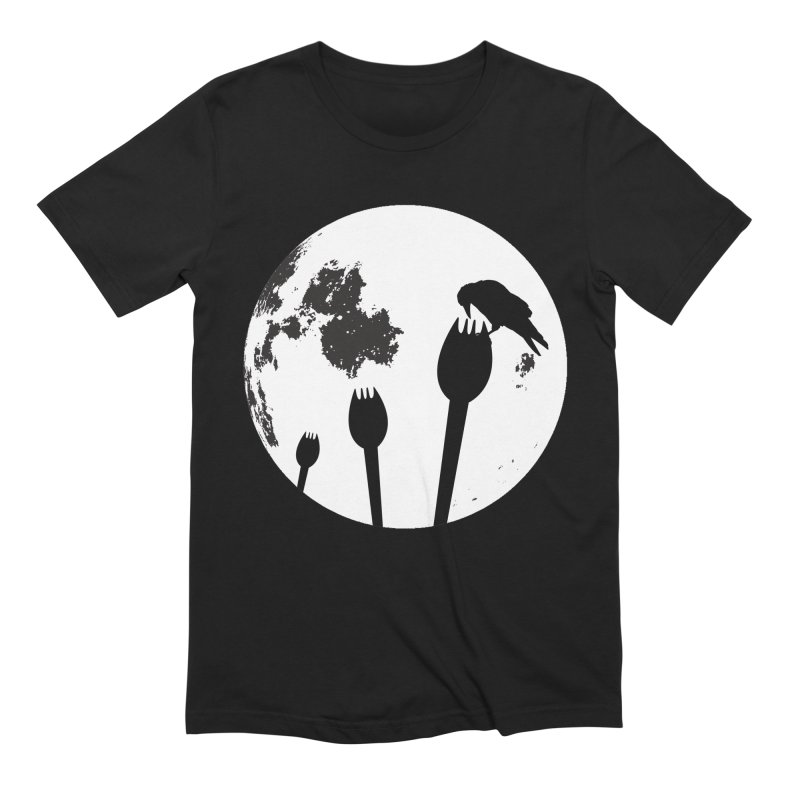 Raven in a spork grave yard and full moon. in Men's Extra Soft T-Shirt Black by Sporkshirts's tshirt gamer movie and design shop.