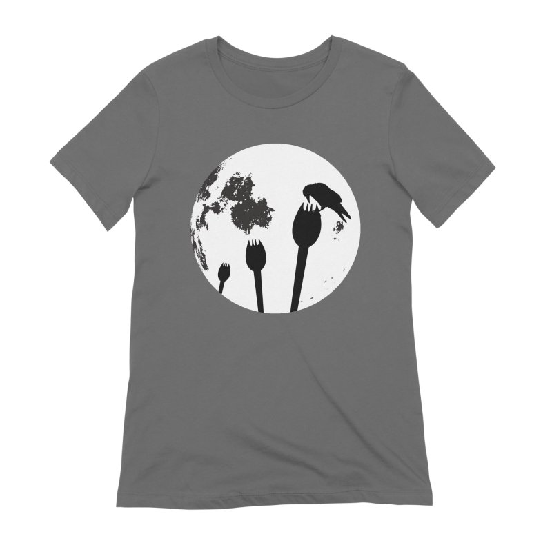 Raven in a spork grave yard and full moon. Women's T-Shirt by Make a statement, laugh, enjoy.