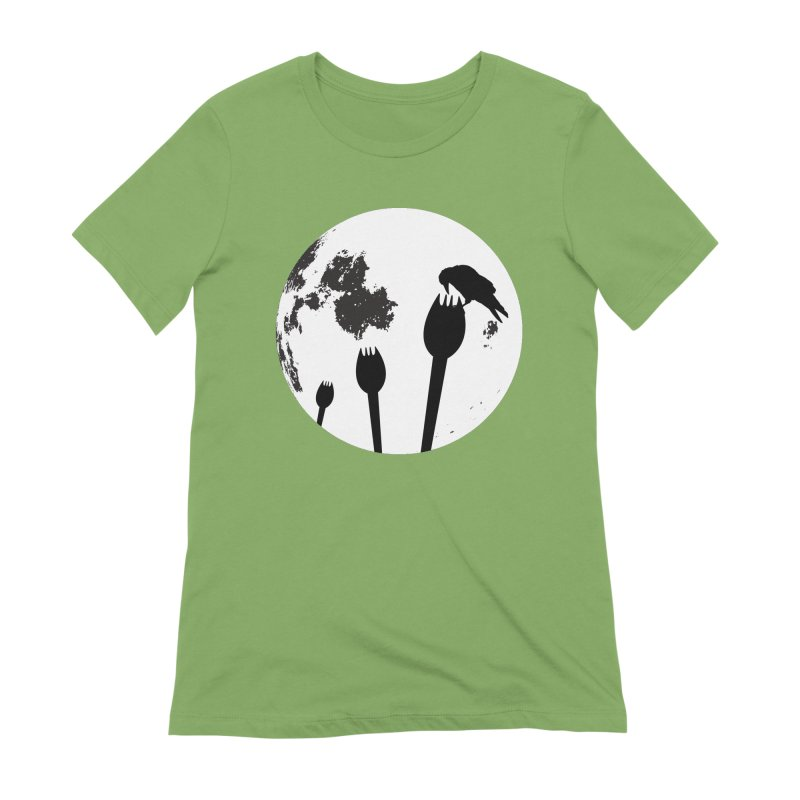 Raven in a spork grave yard and full moon. Women's Extra Soft T-Shirt by Sporkshirts's tshirt gamer movie and design shop.
