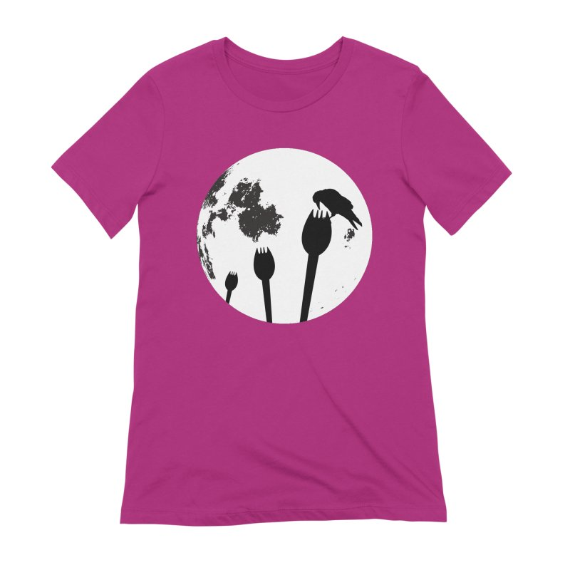 Raven in a spork grave yard and full moon. Women's Extra Soft T-Shirt by Make a statement, laugh, enjoy.