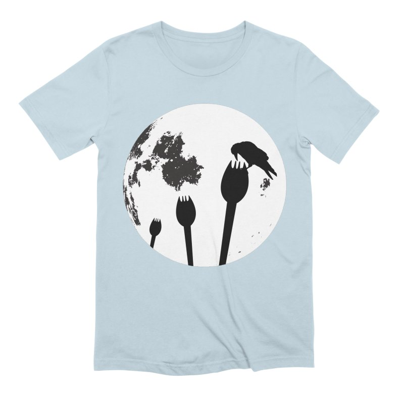 Raven in a spork grave yard and full moon. Men's Extra Soft T-Shirt by Make a statement, laugh, enjoy.