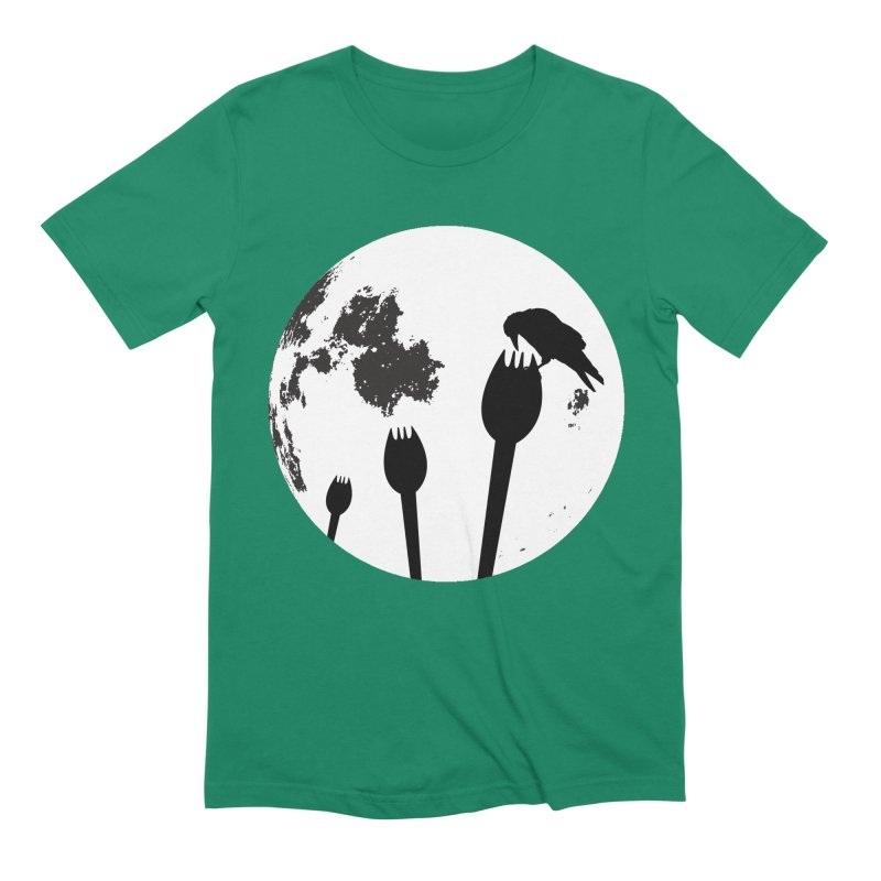 Raven in a spork grave yard and full moon. Men's Extra Soft T-Shirt by Sporkshirts's tshirt gamer movie and design shop.
