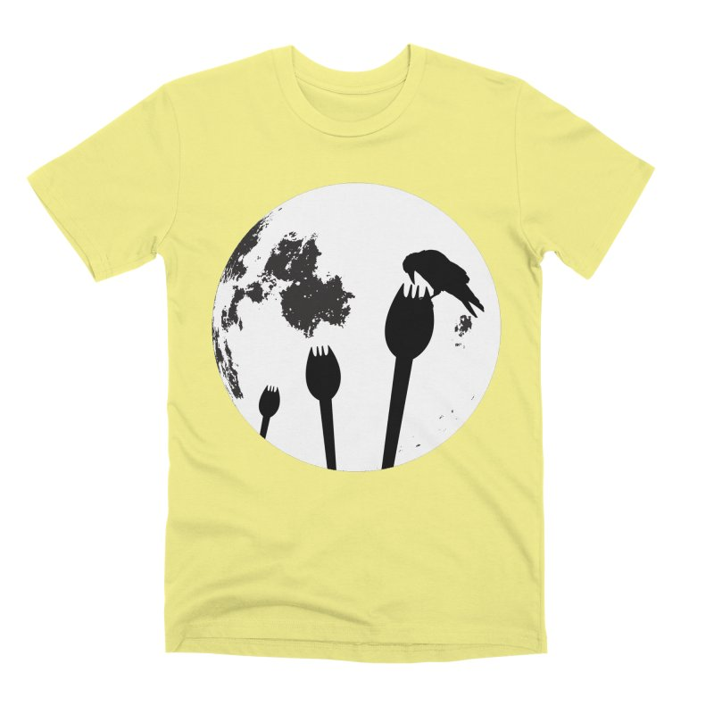Raven in a spork grave yard and full moon. Men's Premium T-Shirt by Make a statement, laugh, enjoy.