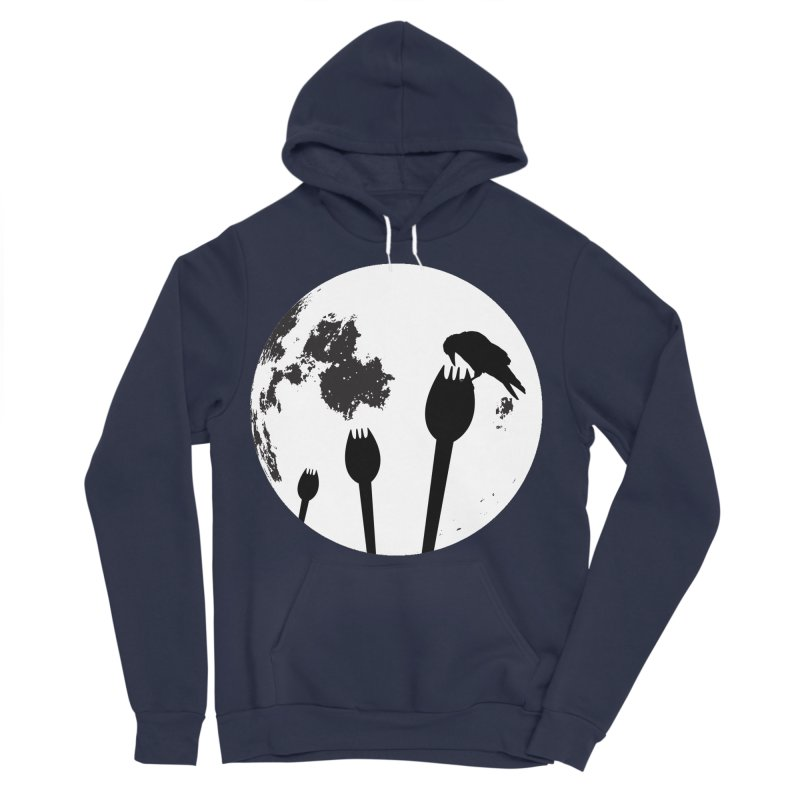 Raven in a spork grave yard and full moon. Women's Sponge Fleece Pullover Hoody by Make a statement, laugh, enjoy.