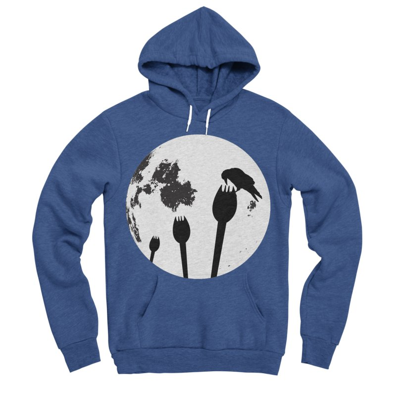 Raven in a spork grave yard and full moon. Men's Sponge Fleece Pullover Hoody by Sporkshirts's tshirt gamer movie and design shop.