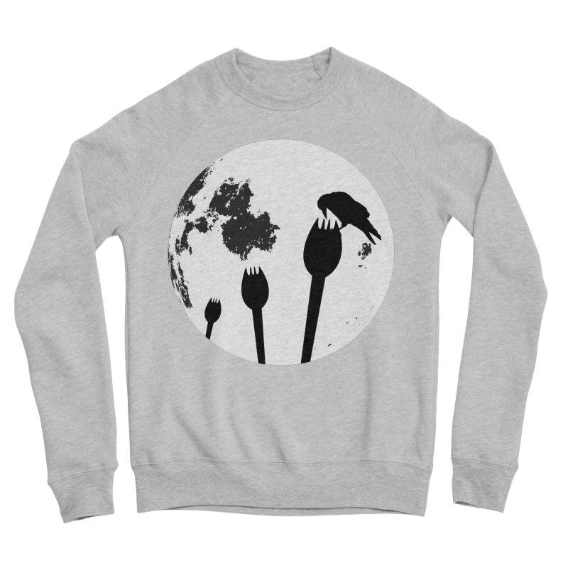 Raven in a spork grave yard and full moon. Women's Sponge Fleece Sweatshirt by Make a statement, laugh, enjoy.