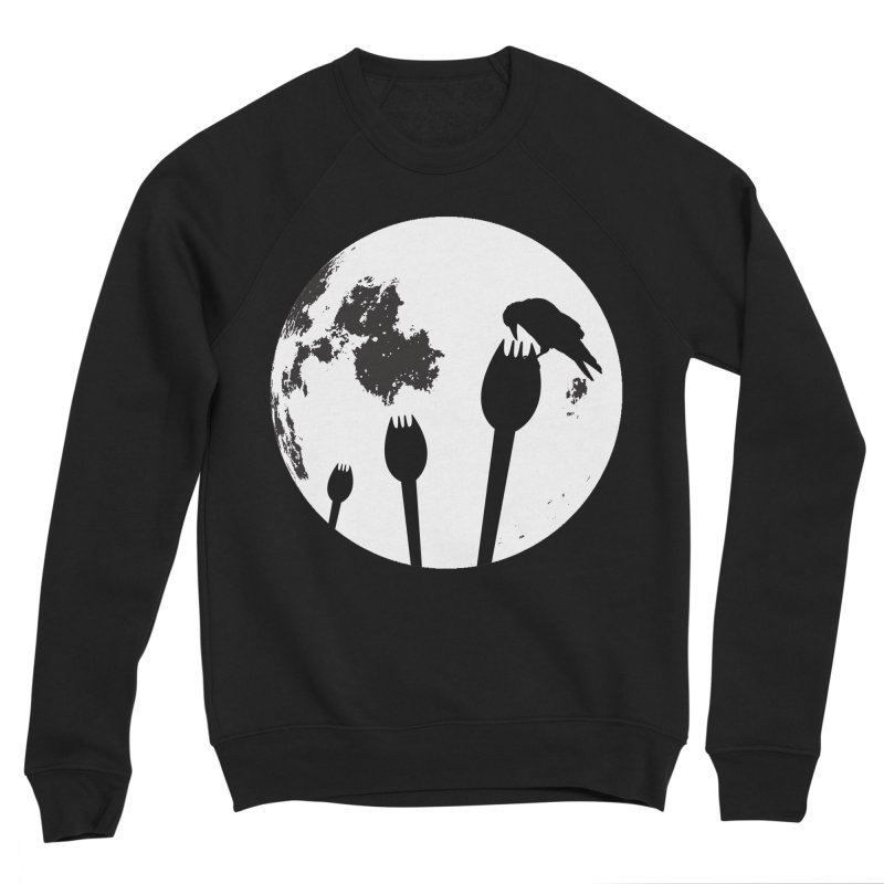 Raven in a spork grave yard and full moon. Women's Sponge Fleece Sweatshirt by Sporkshirts's tshirt gamer movie and design shop.