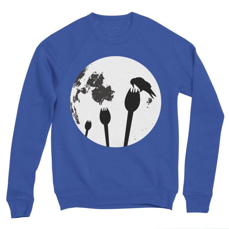 Raven in a spork grave yard and full moon. Women's Sponge Fleece Sweatshirt by Make a statement, laugh, enjoy.