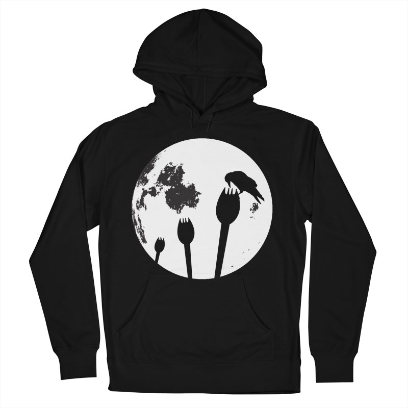 Raven in a spork grave yard and full moon. in Men's French Terry Pullover Hoody Black by Sporkshirts's tshirt gamer movie and design shop.