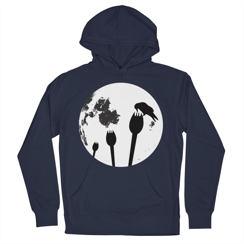 Raven in a spork grave yard and full moon. Women's French Terry Pullover Hoody by Sporkshirts's tshirt gamer movie and design shop.