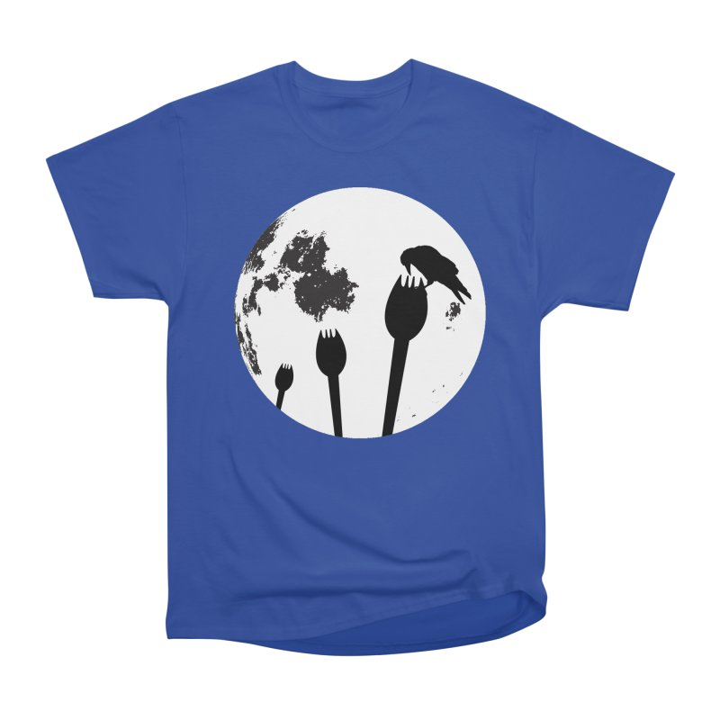 Raven in a spork grave yard and full moon. Women's Heavyweight Unisex T-Shirt by Make a statement, laugh, enjoy.