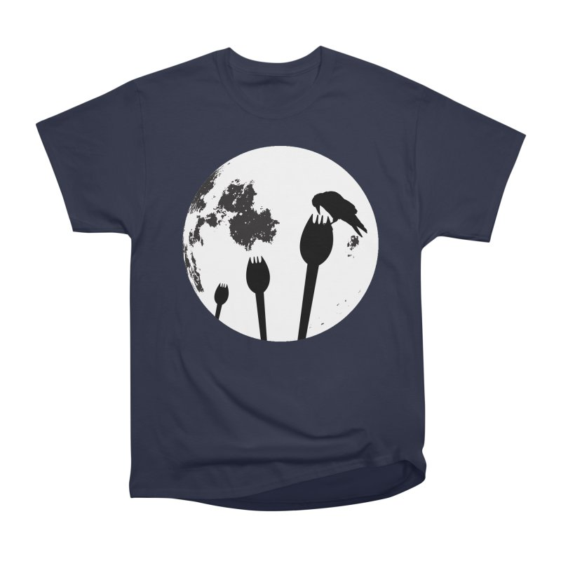 Raven in a spork grave yard and full moon. Men's Heavyweight T-Shirt by Make a statement, laugh, enjoy.