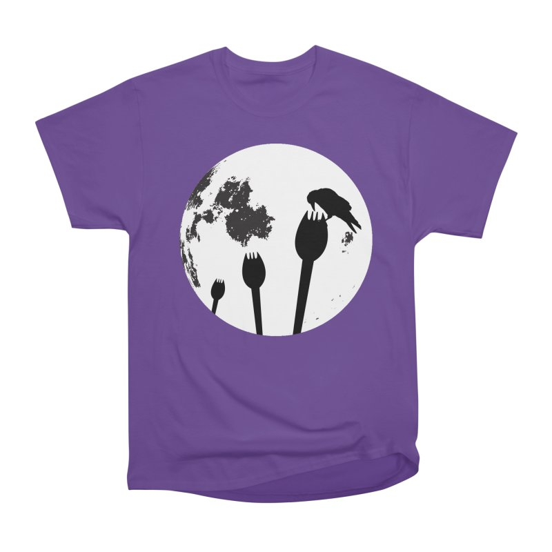 Raven in a spork grave yard and full moon. Men's Heavyweight T-Shirt by Sporkshirts's tshirt gamer movie and design shop.