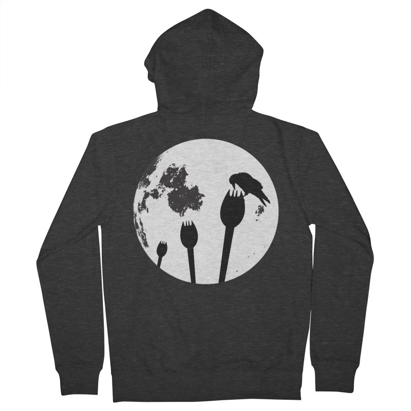 Raven in a spork grave yard and full moon. Women's French Terry Zip-Up Hoody by Make a statement, laugh, enjoy.