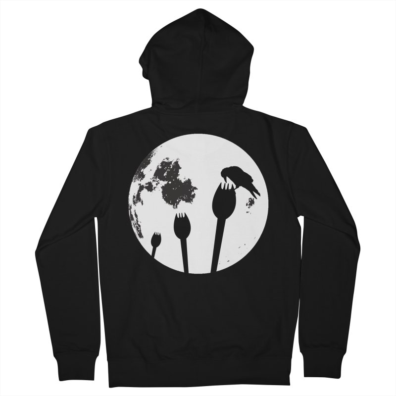 Raven in a spork grave yard and full moon. Women's French Terry Zip-Up Hoody by Sporkshirts's tshirt gamer movie and design shop.
