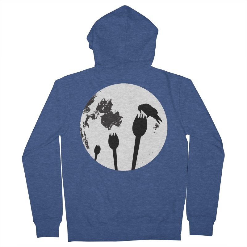 Raven in a spork grave yard and full moon. Men's French Terry Zip-Up Hoody by Make a statement, laugh, enjoy.