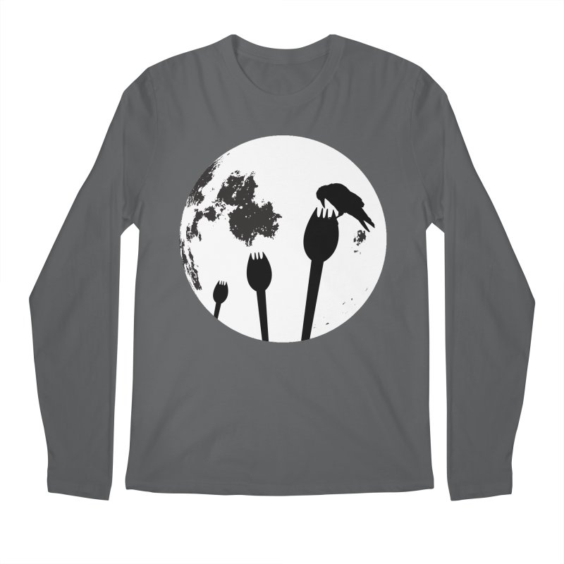 Raven in a spork grave yard and full moon. Men's Longsleeve T-Shirt by Make a statement, laugh, enjoy.