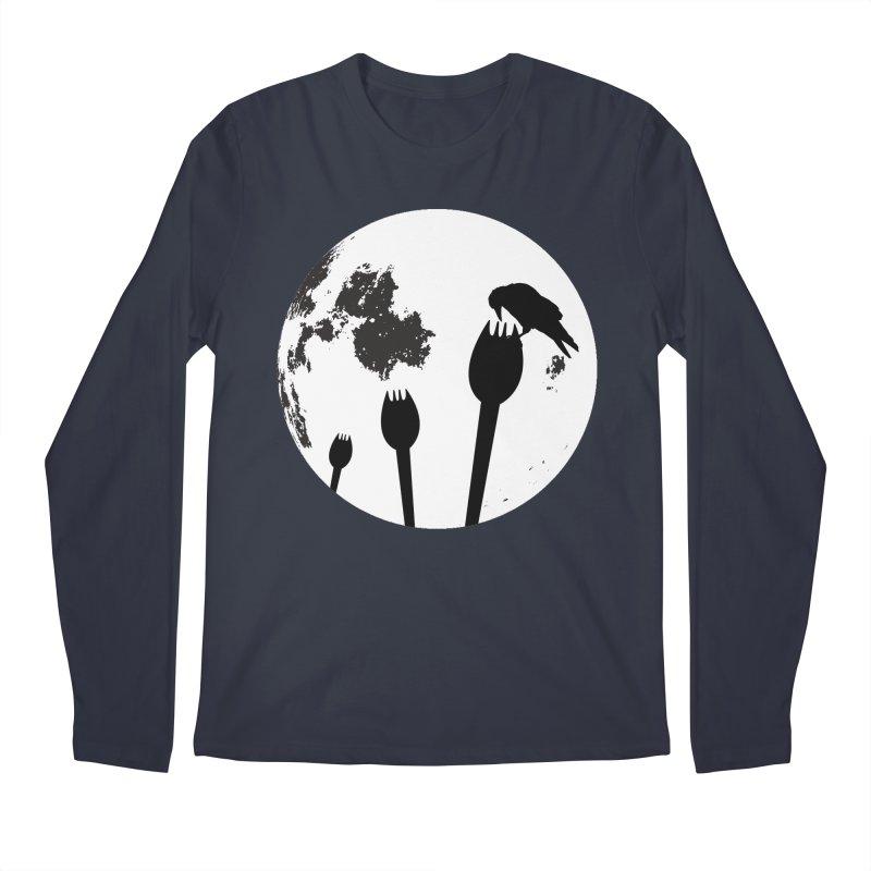 Raven in a spork grave yard and full moon. Men's Regular Longsleeve T-Shirt by Make a statement, laugh, enjoy.