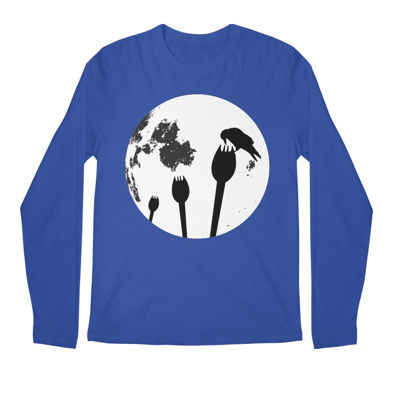 Raven in a spork grave yard and full moon. Men's Regular Longsleeve T-Shirt by Make a statement, laugh, enjoy.
