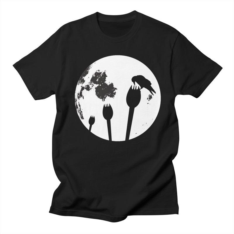 Raven in a spork grave yard and full moon. Women's Regular Unisex T-Shirt by Make a statement, laugh, enjoy.