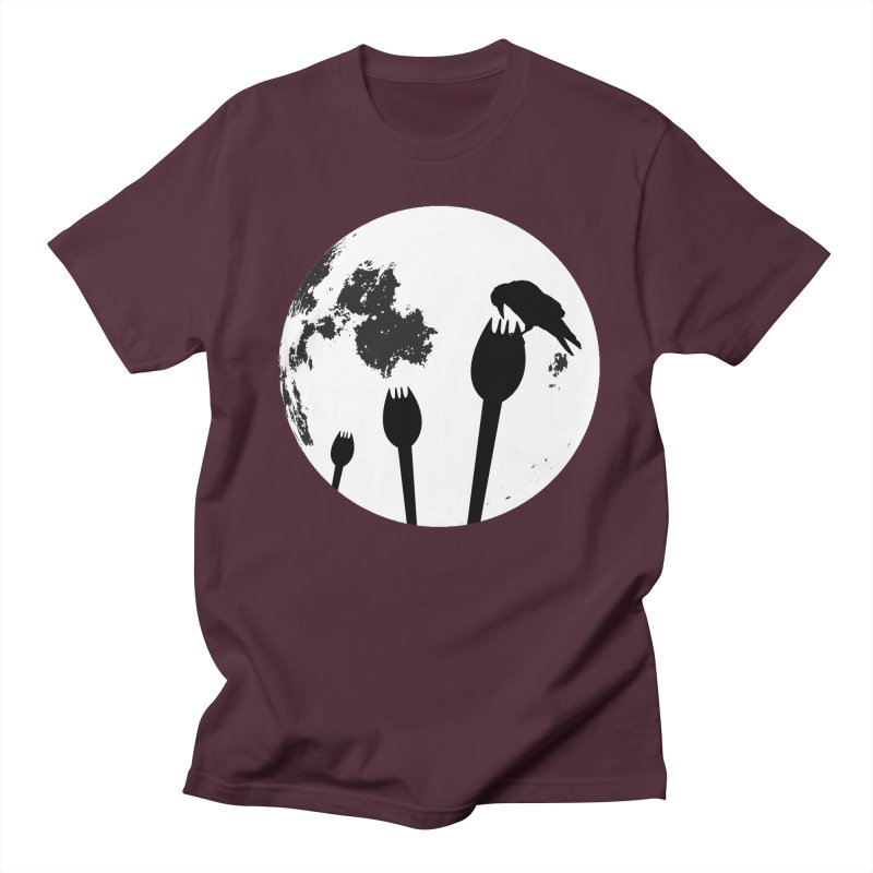 Raven in a spork grave yard and full moon. Men's Regular T-Shirt by Make a statement, laugh, enjoy.