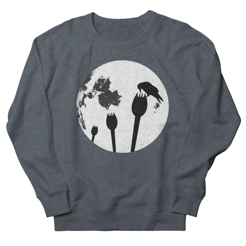 Raven in a spork grave yard and full moon. Women's French Terry Sweatshirt by Make a statement, laugh, enjoy.