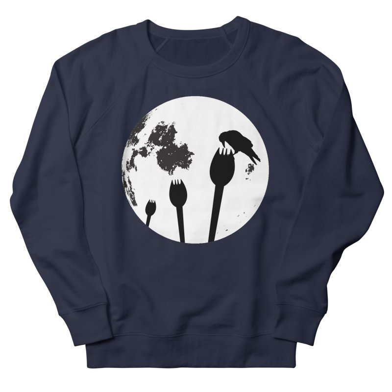 Raven in a spork grave yard and full moon. Women's French Terry Sweatshirt by Sporkshirts's tshirt gamer movie and design shop.